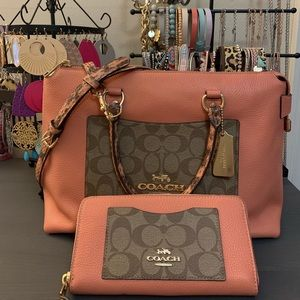 NWOT COACH Emma Satchel & Matching Wallet